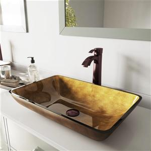 VIGO Vessel Bathroom Sink with Faucet - Oil Rubbed Bronze