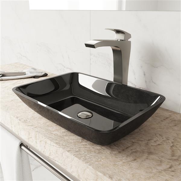 VIGO Glass Vessel Bathroom Sink with Faucet - Nickel