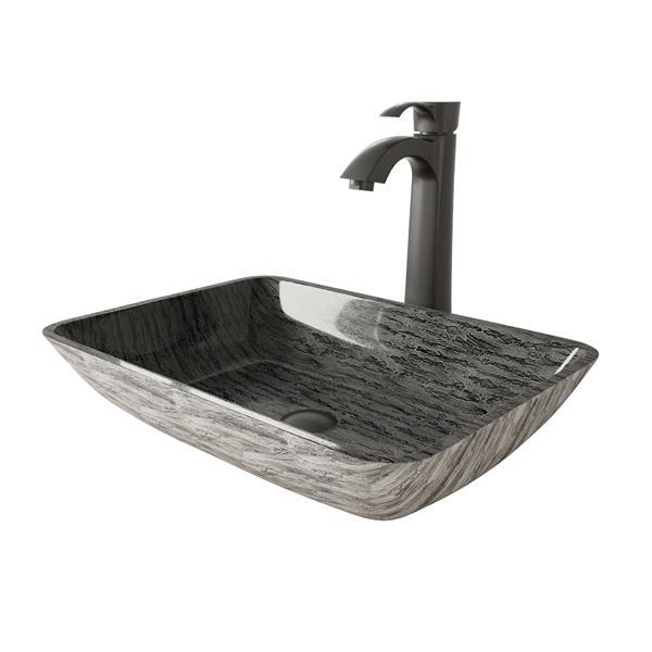 Vasque et robinet de salle de bain «Titanium», noir mat