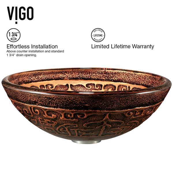 Vasque et robinet de salle de bain Vigo(MD), bronze huilé