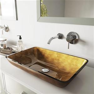 VIGO Vessel Bathroom Sink with Wall Mount Faucet - Chrome