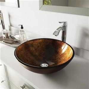 VIGO Glass Vessel Bathroom Sink with Faucet - Chrome