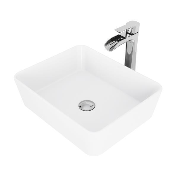 VIGO Marigold Vessel Bathroom Sink with Faucet - Chrome