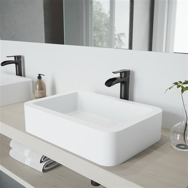 VIGO Petunia Vessel Bathroom Sink with Faucet - Nickel