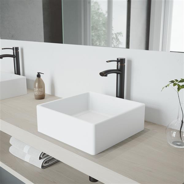 VIGO Dianthus Vessel Bathroom Sink with Faucet - Nickel