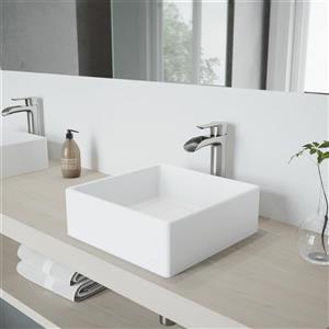 VIGO Dianthus Vessel Bathroom Sink with Faucet - Nickel