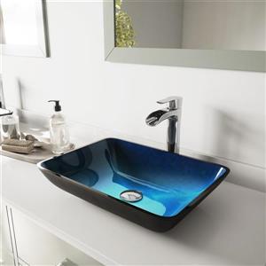 Vasque et robinet de salle de bain en verreVigo(MD), chrome