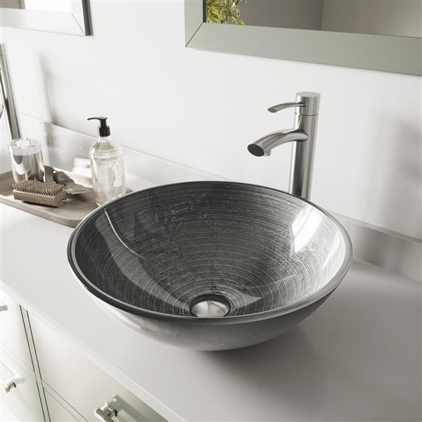 VIGO Glass Vessel Bathroom Sink & Faucet - Brushed Nickel