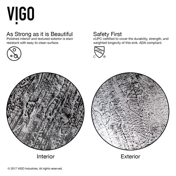 VIGO Titanium Glass Vessel Bathroom Sink with Faucet