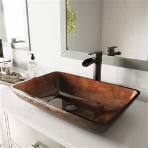 VIGO Glass Vessel Bathroom Sink with Faucet - 22-in - Bronze
