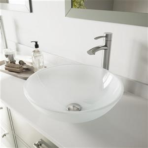VIGO Glass Vessel Bathroom Sink with Faucet - Nickel