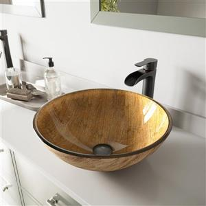 VIGO Glass Vessel Bathroom Sink with Faucet - Matte Black