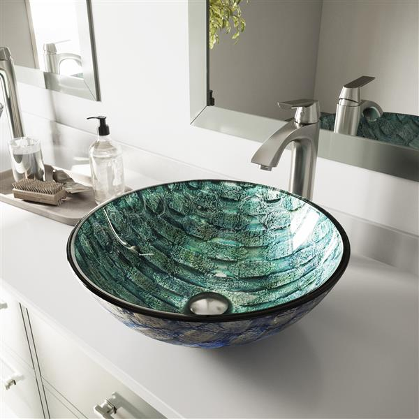 VIGO Oceania Glass Vessel Sink and Faucet Finish - Nickel