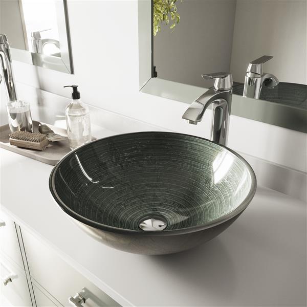 VIGO Glass Vessel Sink and Faucet - Chrome