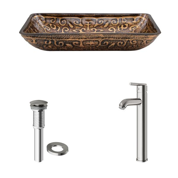 VIGO Glass Vessel Sink and Faucet - Brushed Nickel