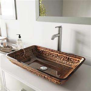 VIGO Glass Vessel Sink and Faucet - Brushed Nickel