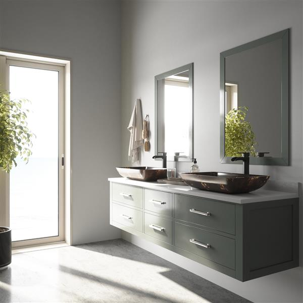 VIGO Glass Vessel Bathroom Sink and Faucet - Bronze