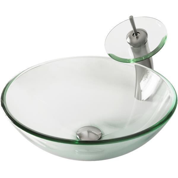 VIGO Crystalline Vessel Bathroom Sink and Waterfall Faucet