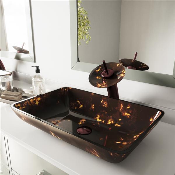VIGO Glass Vessel Bathroom Sink & Waterfall Faucet - Bronze