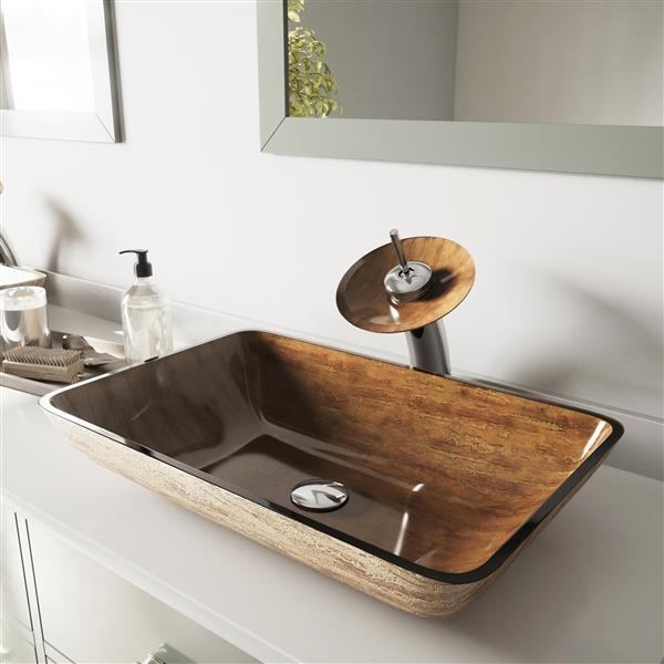 Vasque et robinet de salle de bain en verre Vigo(MD), 22 ...
