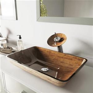 """Vasque et robinet de salle de bain en verre Vigo(MD), 22"""""""