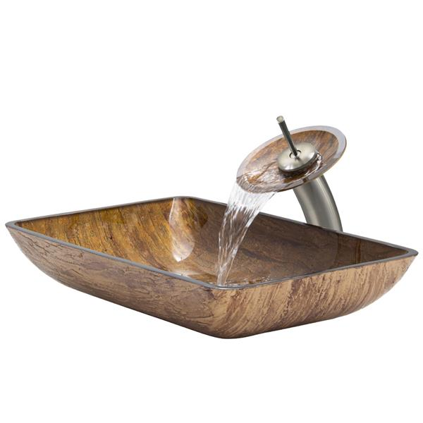VIGO Glass Vessel Bathroom Sink & Waterfall Faucet - 22-in