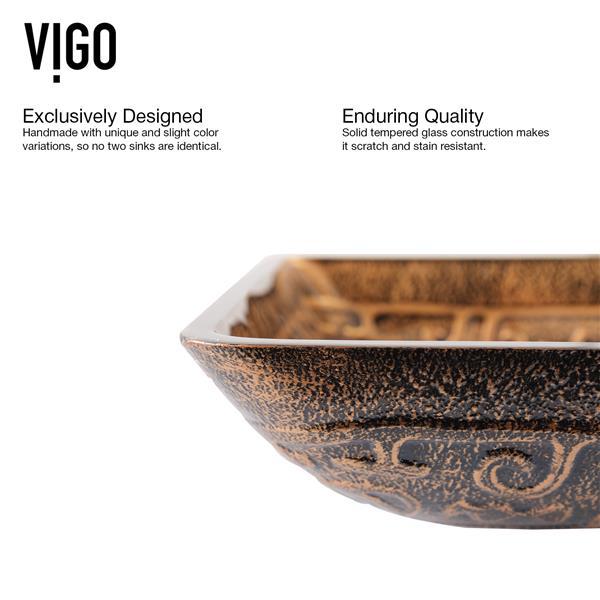 VIGO Glass Vessel Bathroom Sink & Waterfall Faucet - Nickel