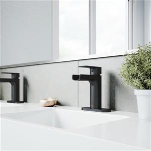 Vigo Ileana Single Hole Bathroom Faucet with Deck Plate - Black