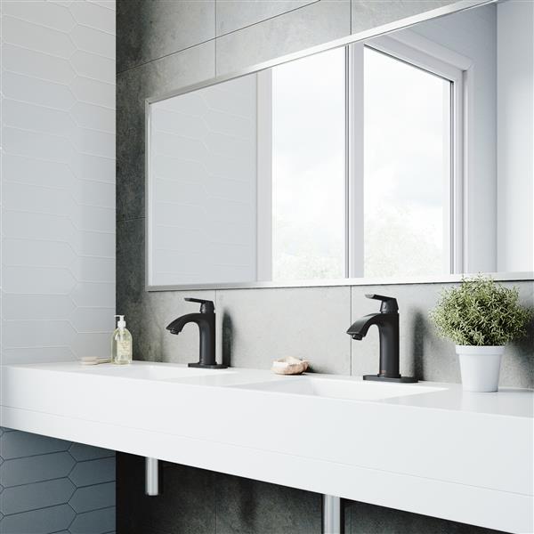 VIGO Penela Single Hole Bathroom Faucet With Deck Plate - Black