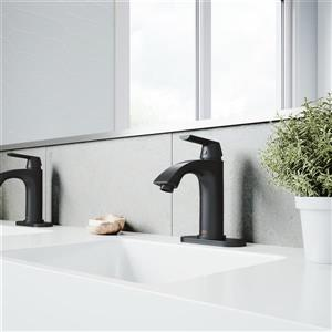 Vigo Penela Single Hole Bathroom Faucet With Deck Plate - Black