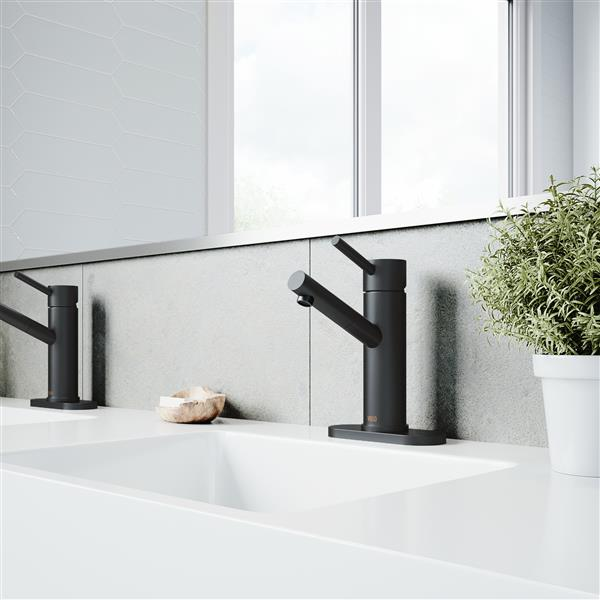 VIGO Noma Single Hole Bathroom Faucet With Deck Plate - Black