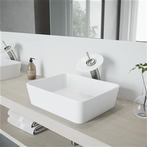 Robinet pour vasque de salle de bain avec applique mat