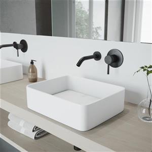 Robinet de salle de bain mural «Olus», 1 poignée, noir mat