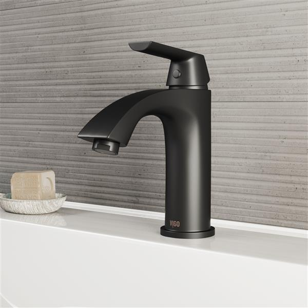 VIGO Penela Single Hole Bathroom Faucet - 1 Handle - Matte Black