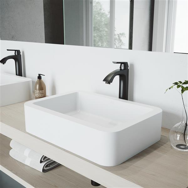 VIGO Linus Vessel Bathroom Faucet - 1 Handle - Matte Black