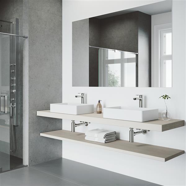 VIGO Amada Vessel Bathroom Faucet - 1 Handle - Brushed Nickel