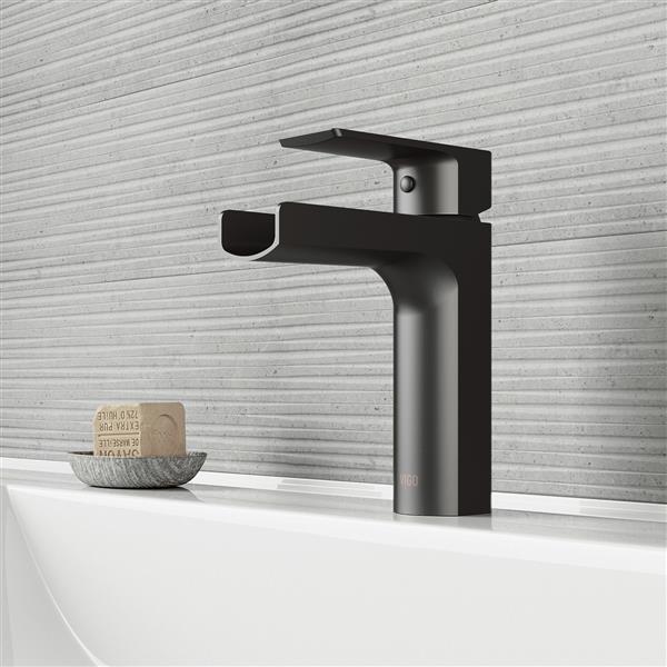 VIGO Ileana Single Hole Bathroom Faucet - 1 Handle - Matte Black