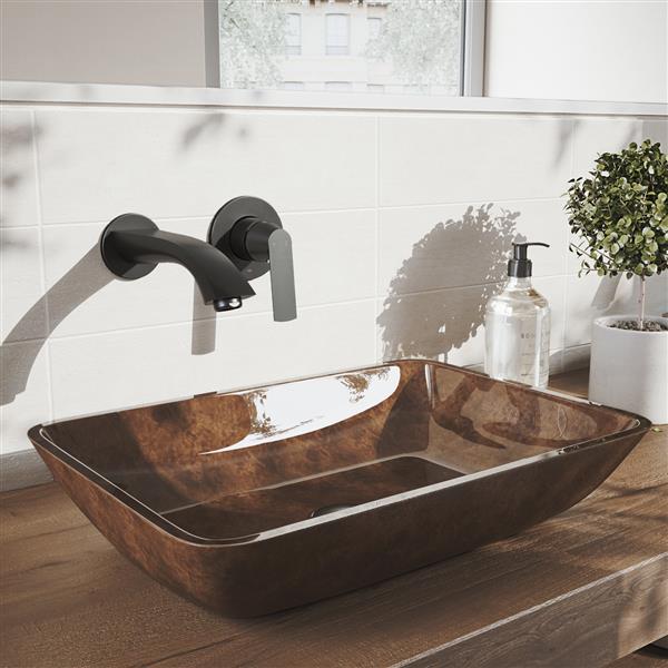 VIGO Aldous Wall Mount Bathroom Faucet - 1 Handle - Matte Black