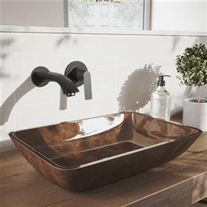 Robinet pour salle de bain mural «Aldous», 1 poignée, noir
