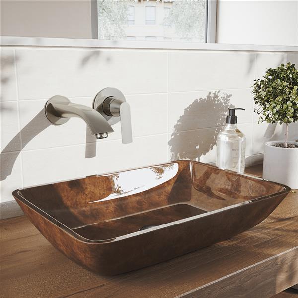 Robinet de salle de bain mural «Aldous», nickel brossé
