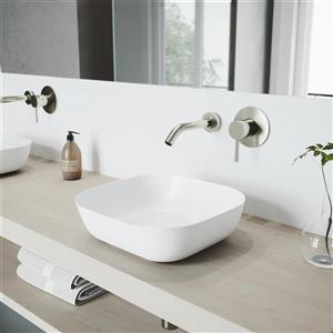 Vasque et robinet de salle de bain mural «Camellia», bronze