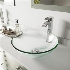 VIGO Crystalline Vessel Bathroom Sink with Faucet