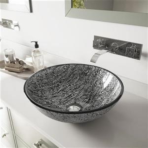 VIGO Titanium Vessel Bathroom Sink with Wall Mount Faucet