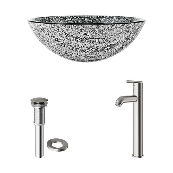 VIGO Titanium Vessel Bathroom Sink with Faucet - Bronze