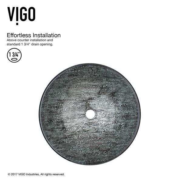 VIGO Titanium Vessel Bathroom Sink with Vessel Faucet