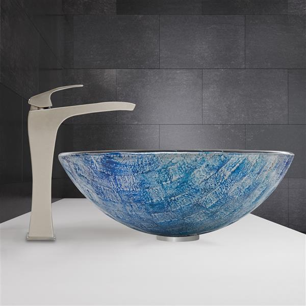 VIGO Oceania Vessel Bathroom Sink with Vessel Faucet