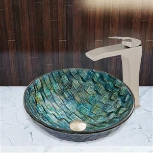 Vigo® Oceania Vessel Bathroom Sink with Vessel Faucet