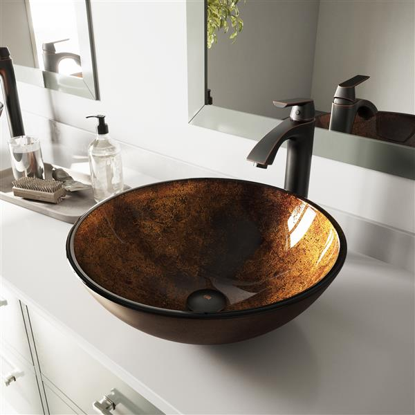 VIGO Glass Vessel Bathroom Sink with Faucet - Rubebd Bronze