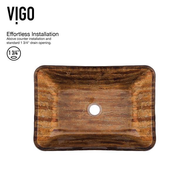 VIGO Glass Vessel Bathroom Sink with Faucet - 22-in - Black