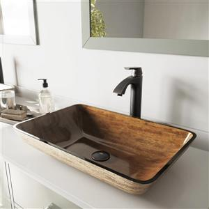 """Vasque et robinet de salle de bain Vigo(MD), 22"""", noir"""